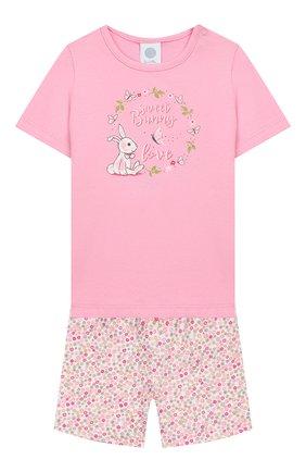 Детский хлопковая пижама SANETTA розового цвета, арт. 221525 3813 | Фото 1