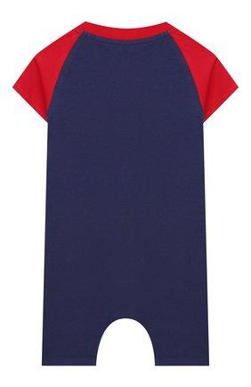 Детское хлопковый комбинезон MONCLER синего цвета, арт. F1-951-8L709-20-8790A | Фото 2