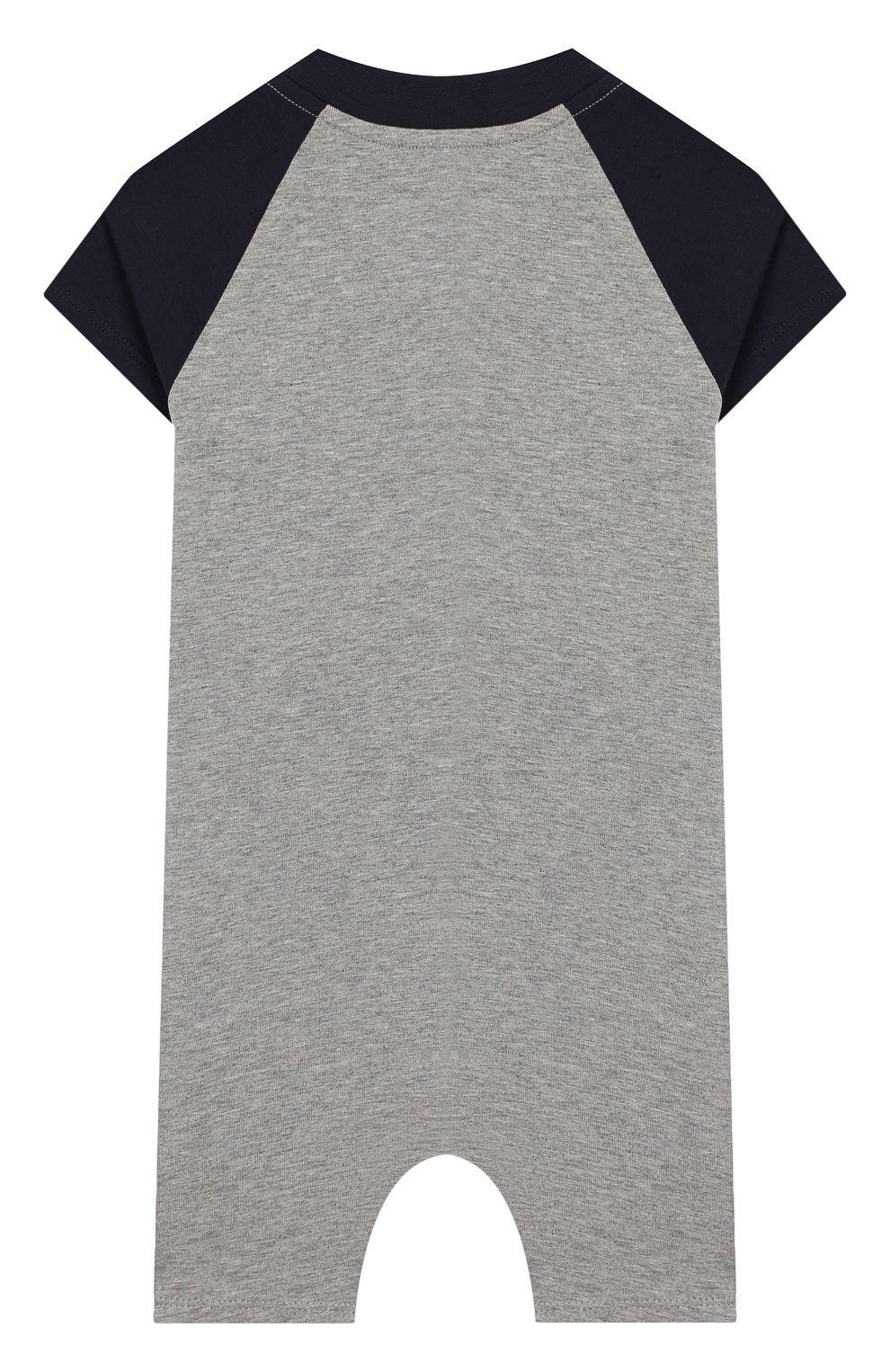 Детское хлопковый комбинезон MONCLER серого цвета, арт. F1-951-8L709-20-8790A | Фото 2