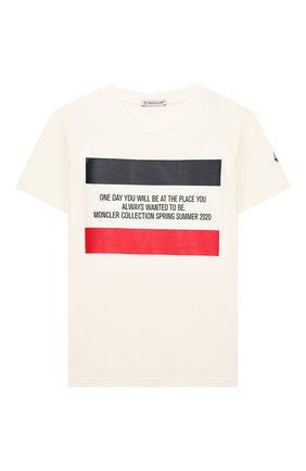 Детская хлопковая футболка MONCLER белого цвета, арт. F1-954-8C719-20-83907/12-14A | Фото 1