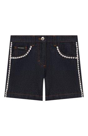 Детские джинсовые шорты DOLCE & GABBANA темно-синего цвета, арт. L52Q49/LD888/2-6   Фото 1 (Материал внешний: Хлопок; Девочки Кросс-КТ: Шорты-одежда; Ростовка одежда: 3 года   98 см)