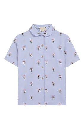 Детское хлопковая блузка GUCCI голубого цвета, арт. 604093/XWAH4 | Фото 1