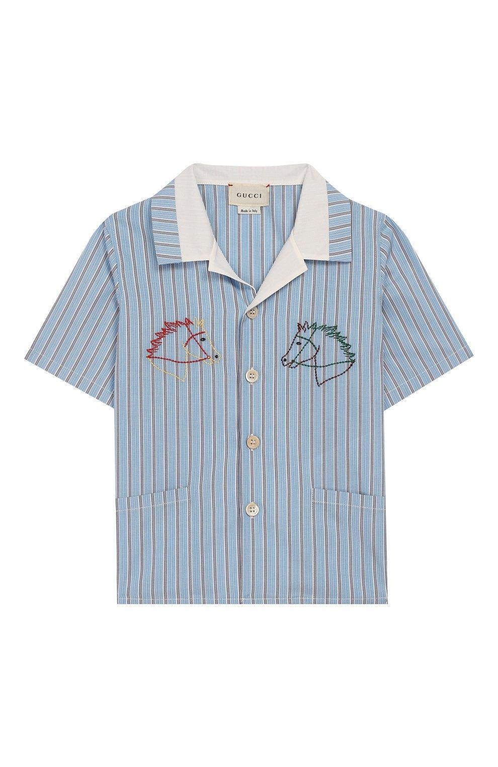 Детский хлопковая рубашка GUCCI голубого цвета, арт. 591650/XWAHQ | Фото 1
