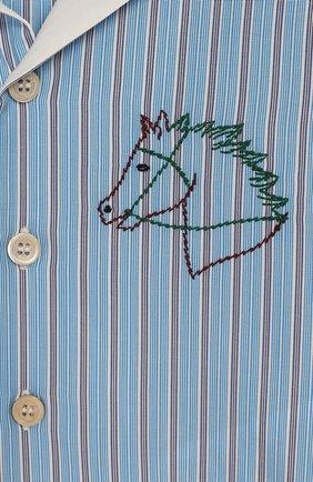 Детский хлопковая рубашка GUCCI голубого цвета, арт. 591650/XWAHQ | Фото 3