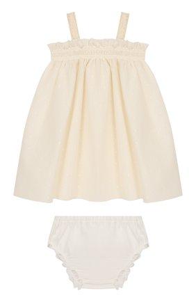 Женский комплект из платья и шорт ALETTA бежевого цвета, арт. RW00253/1M-2A | Фото 1