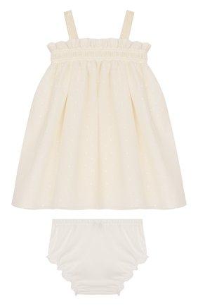 Женский комплект из платья и шорт ALETTA бежевого цвета, арт. RW00253/1M-2A | Фото 2