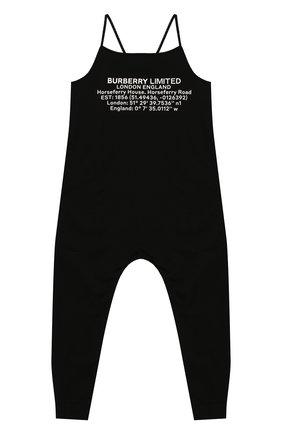 Детский хлопковый комбинезон BURBERRY черного цвета, арт. 8026459   Фото 1
