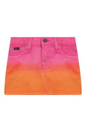 Детская джинсовая юбка POLO RALPH LAUREN разноцветного цвета, арт. 313783739 | Фото 1