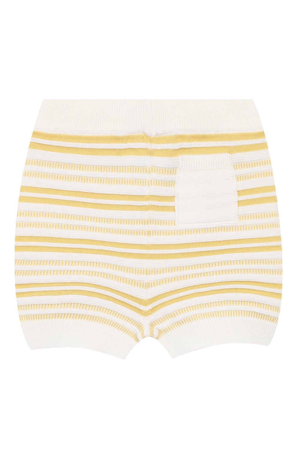 Детские хлопковые шорты LORO PIANA желтого цвета, арт. FAI9892   Фото 2