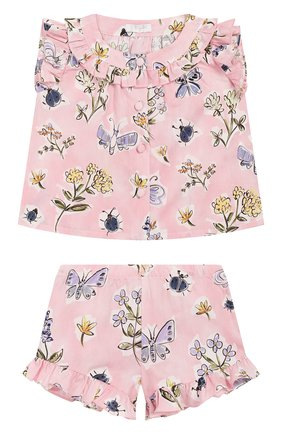 Детский комплект из топа и шорт IL GUFO розового цвета, арт. P20DP330C4059/3M-9M | Фото 1