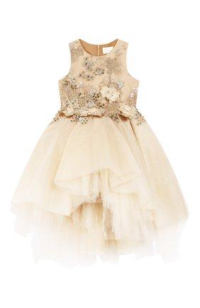 Детское платье MISCHKA AOKI золотого цвета, арт. SS20356/10-12   Фото 1