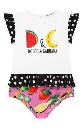 Детское хлопковое боди DOLCE & GABBANA разноцветного цвета, арт. L2J0T2/G7WRE | Фото 1