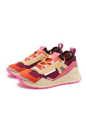 Детские кроссовки DOLCE & GABBANA оранжевого цвета, арт. DA0904/AX036/29-36 | Фото 1 (Материал внутренний: Натуральная кожа; Материал внешний: Текстиль; Стили: Гранж)