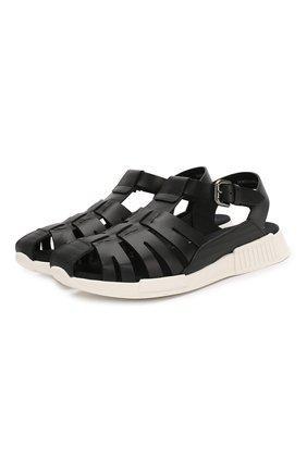 Детские кожаные сандалии DOLCE & GABBANA черного цвета, арт. DA0910/A1048/37-39 | Фото 1