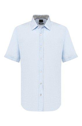 Мужская льняная рубашка BOSS голубого цвета, арт. 50427126 | Фото 1