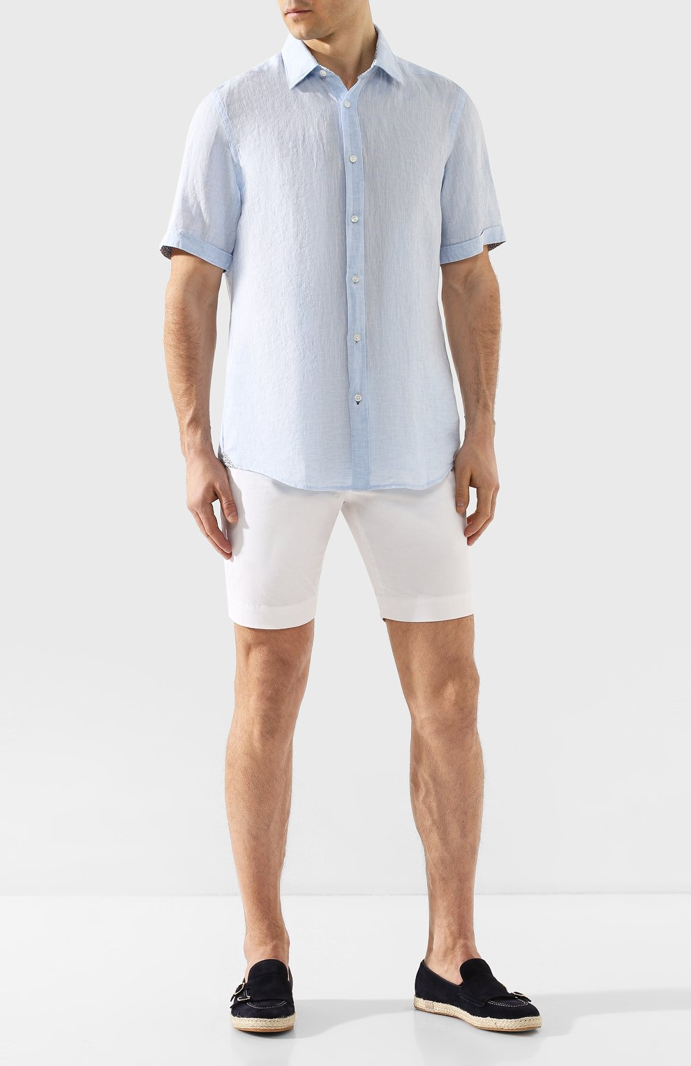 Мужская льняная рубашка BOSS голубого цвета, арт. 50427126 | Фото 2