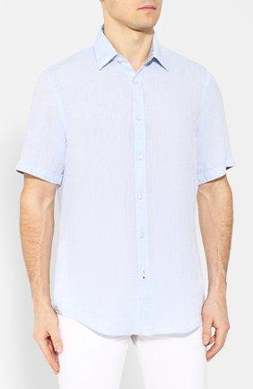 Мужская льняная рубашка BOSS голубого цвета, арт. 50427126 | Фото 3