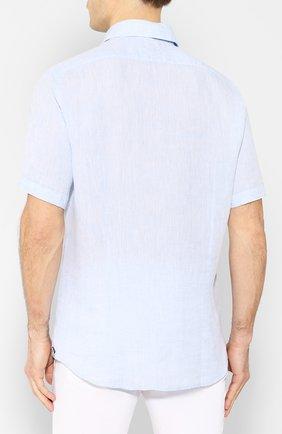Мужская льняная рубашка BOSS голубого цвета, арт. 50427126 | Фото 4