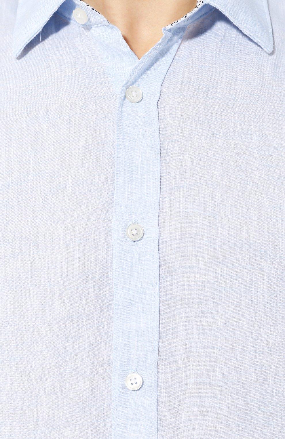 Мужская льняная рубашка BOSS голубого цвета, арт. 50427126 | Фото 5