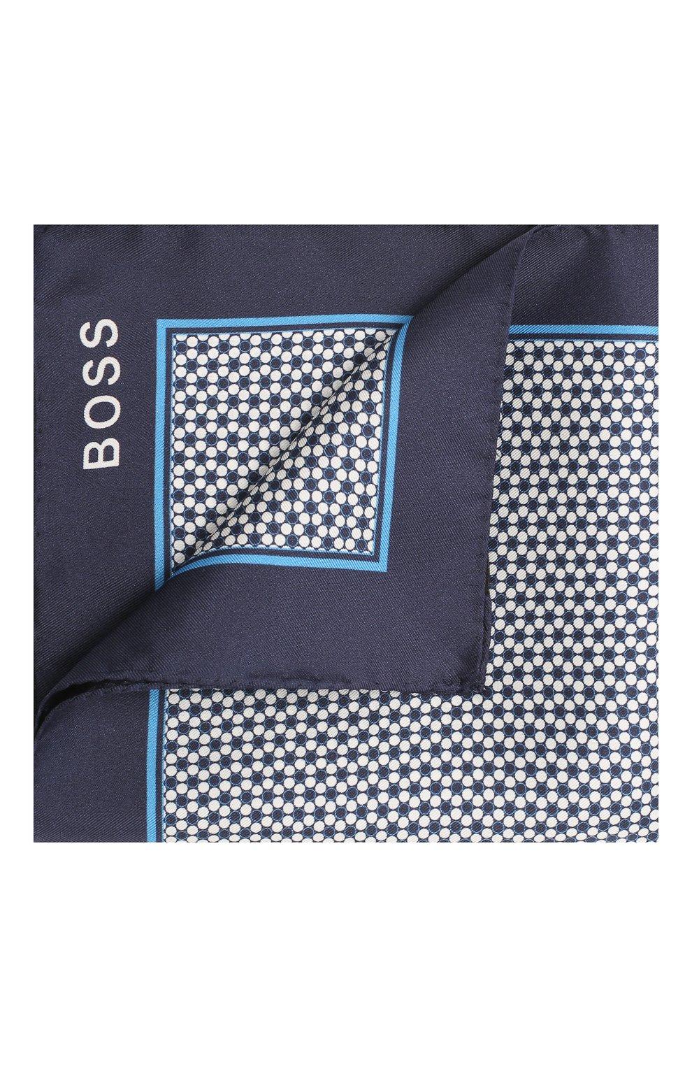 Мужской шелковый платок BOSS синего цвета, арт. 50429469 | Фото 1