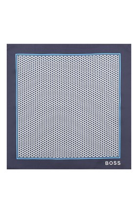 Мужской шелковый платок BOSS синего цвета, арт. 50429469 | Фото 3