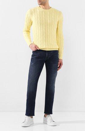 Мужской хлопковый свитер DANIELE FIESOLI желтого цвета, арт. DF 0129 | Фото 2