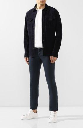 Мужской брюки из смеси хлопка и шелка JACOB COHEN темно-синего цвета, арт. J688 C0MF 01854-S/53 | Фото 2