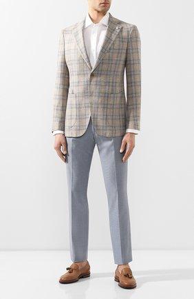 Мужской брюки из смеси шерсти и хлопка BERWICH голубого цвета, арт. SC/1/MZ1379X | Фото 2