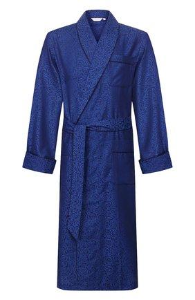 Мужской хлопковый халат DEREK ROSE темно-синего цвета, арт. 5505-PARI017 | Фото 1