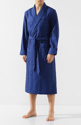 Мужской хлопковый халат DEREK ROSE темно-синего цвета, арт. 5505-PARI017 | Фото 2