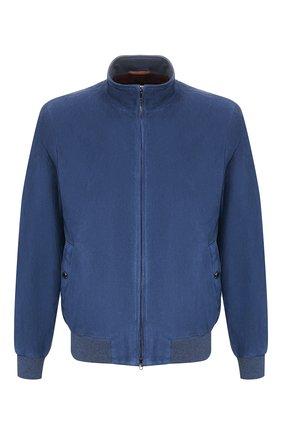 Мужской замшевый бомбер LUCIANO BARBERA синего цвета, арт. 118459/80173 | Фото 1