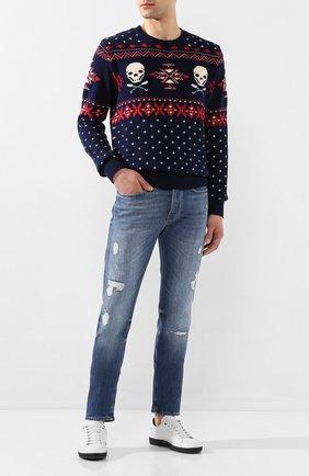 Мужской свитер из смеси хлопка и льна POLO RALPH LAUREN синего цвета, арт. 710787156 | Фото 2