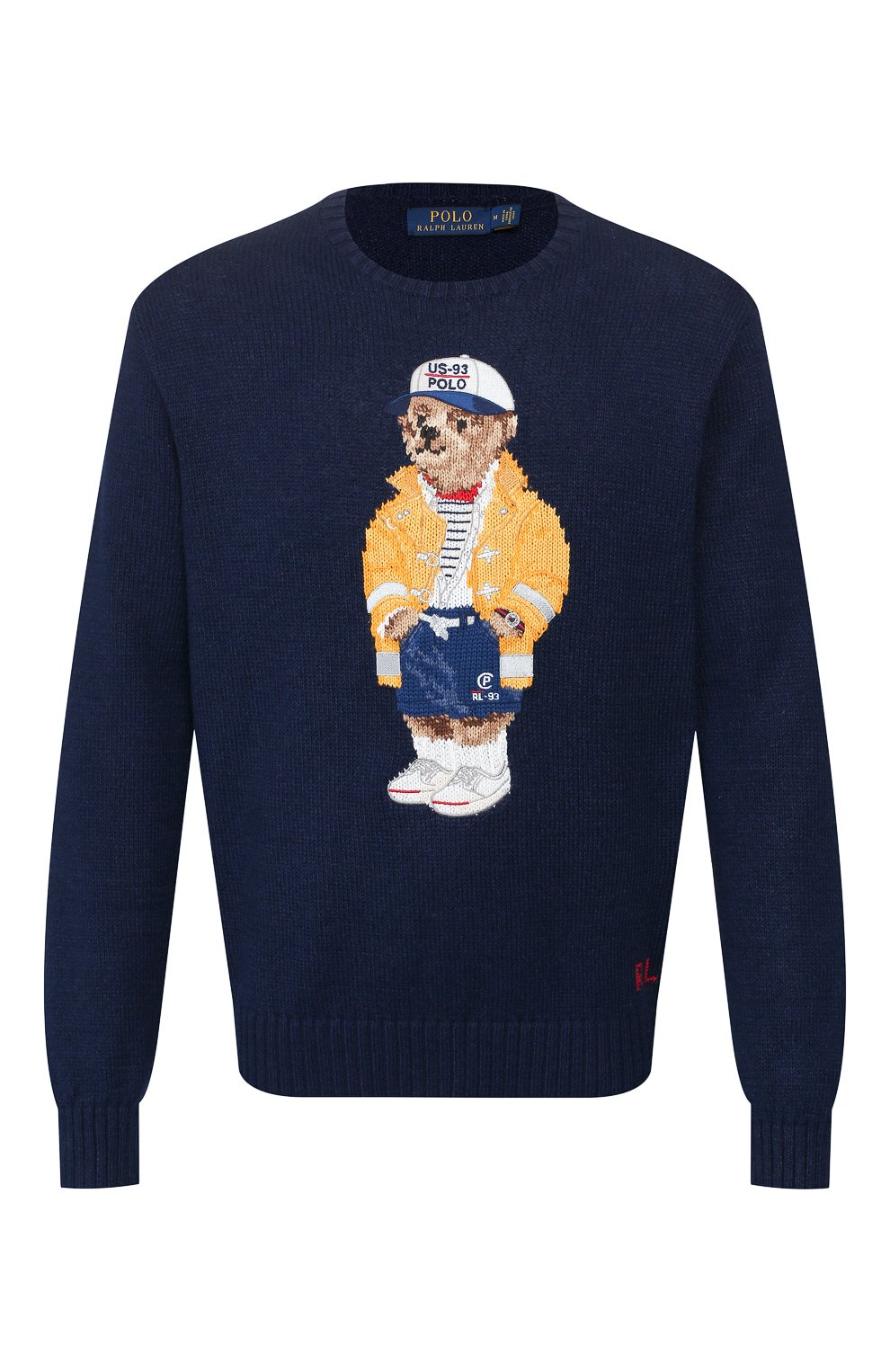 Мужской свитер из смеси хлопка и льна POLO RALPH LAUREN темно-синего цвета, арт. 710786686 | Фото 1