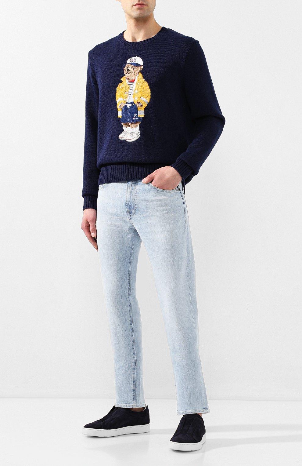 Мужской свитер из смеси хлопка и льна POLO RALPH LAUREN темно-синего цвета, арт. 710786686 | Фото 2