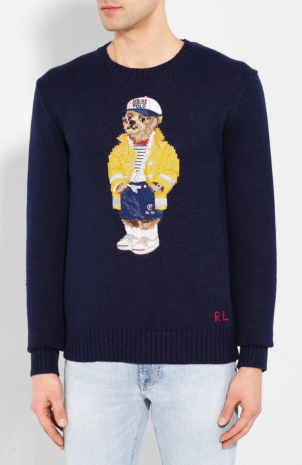 Мужской свитер из смеси хлопка и льна POLO RALPH LAUREN темно-синего цвета, арт. 710786686 | Фото 3