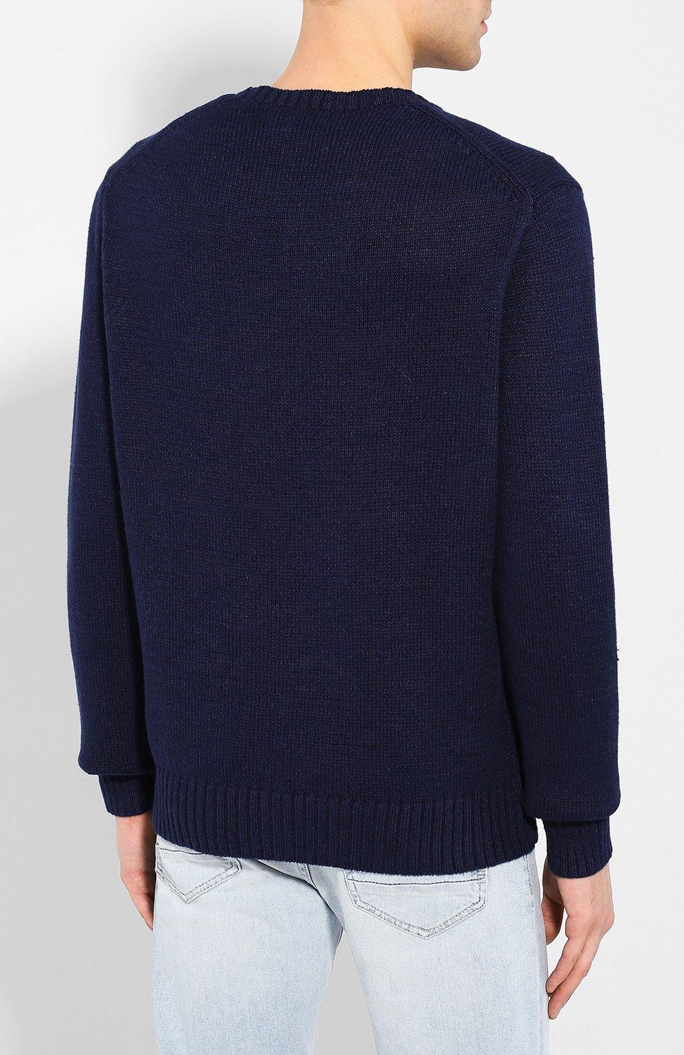 Мужской свитер из смеси хлопка и льна POLO RALPH LAUREN темно-синего цвета, арт. 710786686 | Фото 4