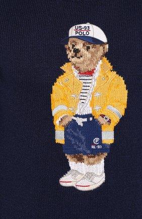 Мужской свитер из смеси хлопка и льна POLO RALPH LAUREN темно-синего цвета, арт. 710786686 | Фото 5