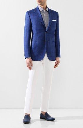 Мужской пиджак из смеси шерсти и шелка BRIONI синего цвета, арт. RGKN0L/P9A0E/D0R0TE0 | Фото 2