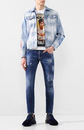 Мужская джинсовая куртка DSQUARED2 голубого цвета, арт. S78AN0030/S30309 | Фото 2