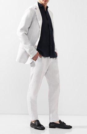 Мужские кожаные лоферы ROCCO P. темно-синего цвета, арт. 10007/ANTIK | Фото 2