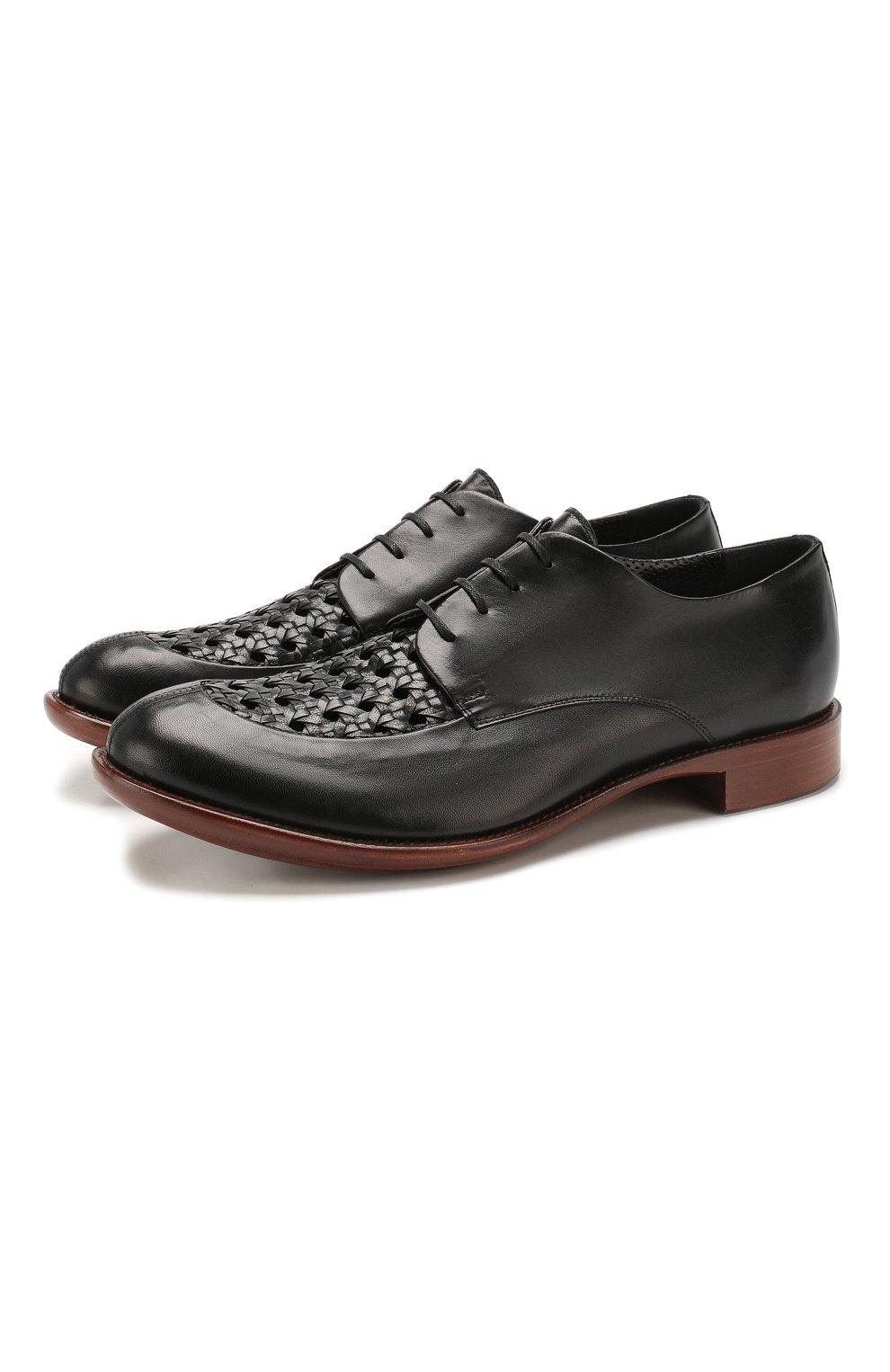 Мужские кожаные дерби ROCCO P. черного цвета, арт. 10011/TRIP0N | Фото 1