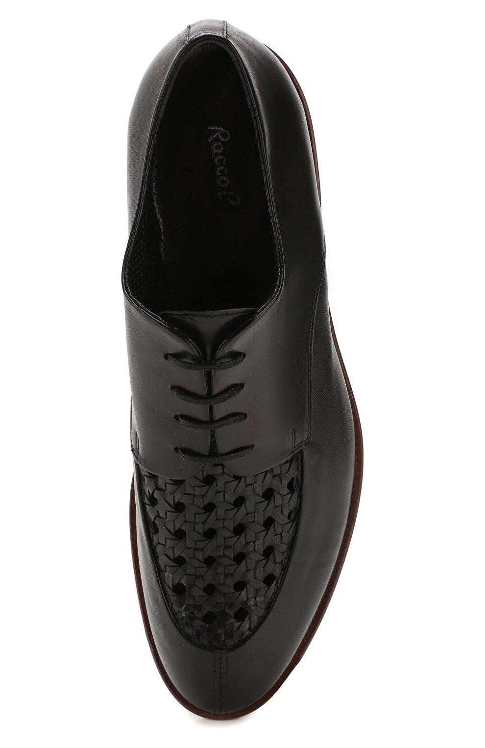Мужские кожаные дерби ROCCO P. черного цвета, арт. 10011/TRIP0N | Фото 5