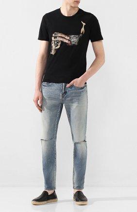 Мужские кожаные эспадрильи KENZO черного цвета, арт. F965ES188L73 | Фото 2