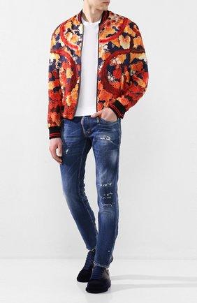 Мужские кожаные кеды ALEXANDER MCQUEEN темно-синего цвета, арт. 575415/WHWM1 | Фото 2