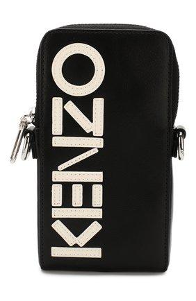 Мужская кожаная сумка-планшет KENZO черного цвета, арт. F965PM508L46 | Фото 1