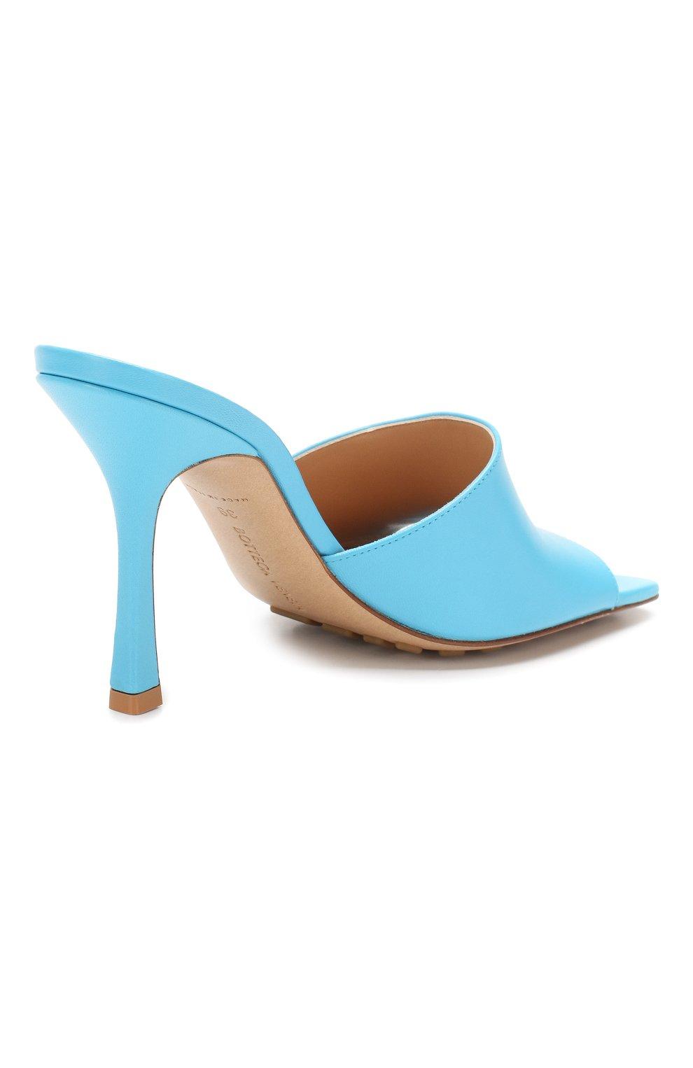 Женские кожаные мюли BOTTEGA VENETA голубого цвета, арт. 610538/VBSF0 | Фото 4
