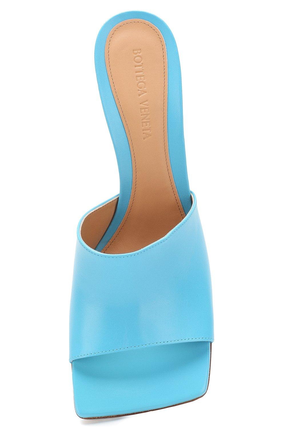Женские кожаные мюли BOTTEGA VENETA голубого цвета, арт. 610538/VBSF0 | Фото 5