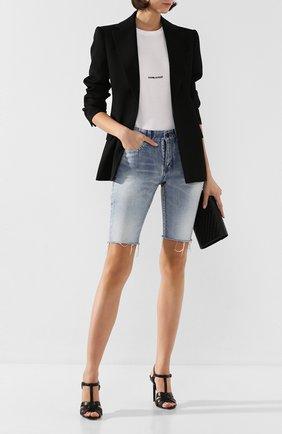 Женские кожаные босоножки tribute SAINT LAURENT черного цвета, арт. 620673/DWE00 | Фото 2