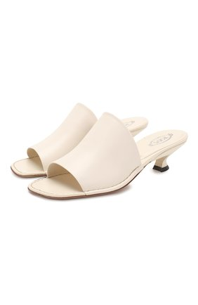 Женские кожаные мюли TOD'S белого цвета, арт. XXW53C0DC1000N | Фото 1