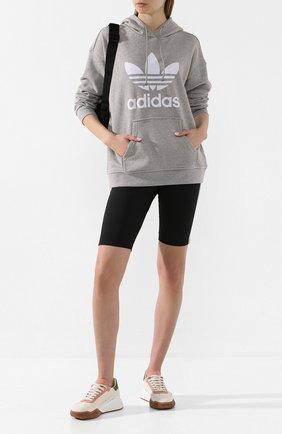 Женская хлопковое худи ADIDAS ORIGINALS серого цвета, арт. FM3304 | Фото 2